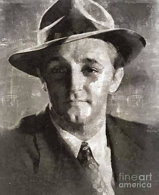 Elvis Presley Painting - Robert Mitchum Hollywood Actor by Mary Bassett