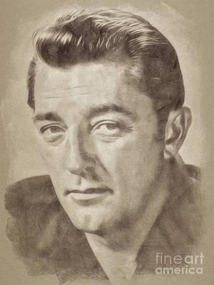 Musicians Drawings - Robert Mitchum, Hollywood Legend by John Springfield by John Springfield