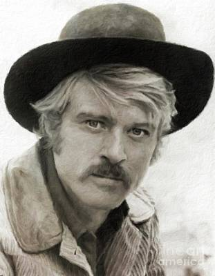 Television Stars Painting - Robert Redford Hollywood Actor by Mary Bassett