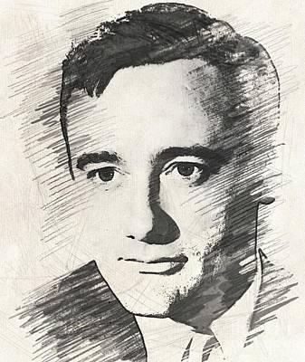 Musicians Drawings - Robert Vaughn, Actor by John Springfield