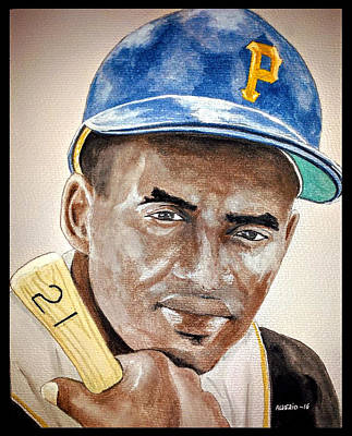 Roberto Clemente - Watercolor Painting Original by Edwin Alverio