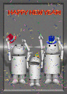Gx9 Mixed Media - Robo-x9 New Years Celebration by Gravityx9 Designs