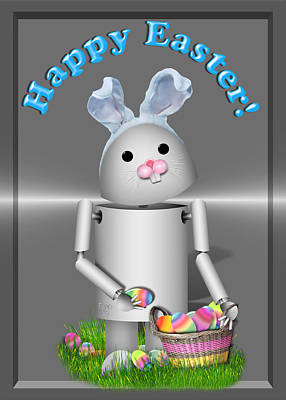 Gx9 Mixed Media - Robo-x9 The Easter Bunny by Gravityx9  Designs