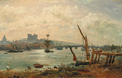 Frederick Nash Painting - Rochester Cathedral And Castle by Frederick Nash