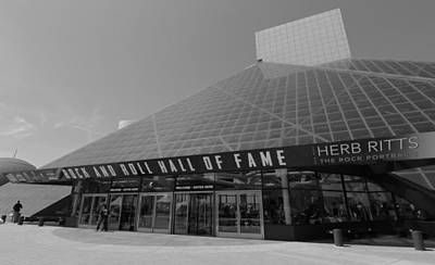 Downtown Cleveland Photograph - Rock And Roll Hall Of Fame Black And White by Dan Sproul