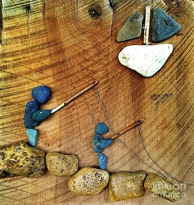 Rock Art Fishing Friends Art Print