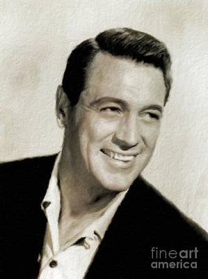 Elvis Presley Painting - Rock Hudson Hollywood Actor by Mary Bassett