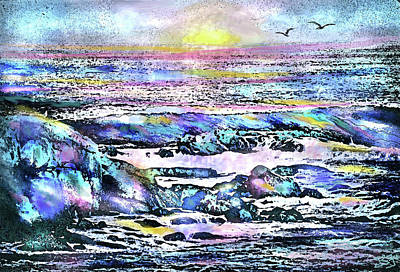 Digital Art - Rocks And Sea by Jean Batzell Fitzgerald