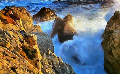 Oceanscape Painting - Rocky Coast by Russ Harris