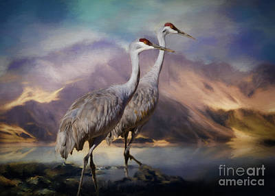 Wading River Painting - Rocky Mountain Sandhill Cranes by Janice Rae Pariza