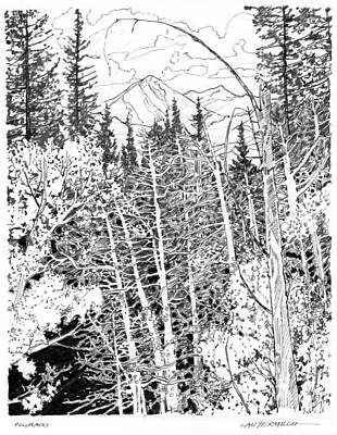 Drawing - Rocky Mountain Sketch by John Lautermilch