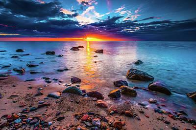 Digital Art - Rocky Sea Shore At Sunrise. Beautiful Seascape by Michael Damiani