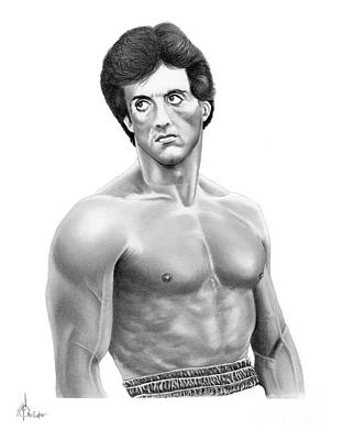 Famous People Drawing - Rocky-sylvester Stallone by Murphy Elliott