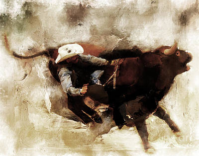 Lassoing Painting - Rodeo Art  by Gull G