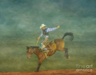 Digital Art - Rodeo Bronco Busting  Three by Randy Steele