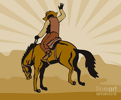 Wild Horses Digital Art - Rodeo Cowboy Bucking Bronco by Aloysius Patrimonio