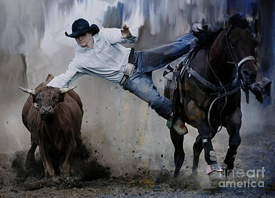 Roping Horse Painting - Rodeo  by Gull G
