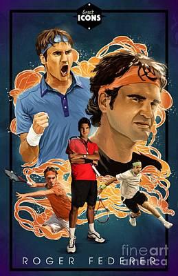 Roger Federer Mixed Media - Roger Federer by Blackwater Studio
