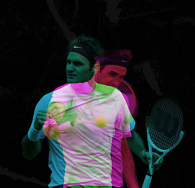 Roger Federer Double Color Exposure Art Print by Srdjan Petrovic