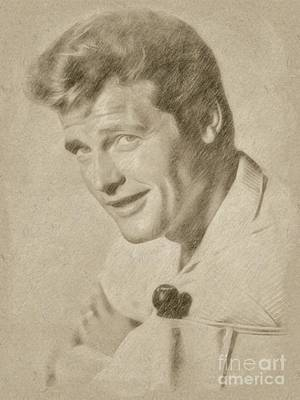 James Monroe Drawing - Roger Moore Hollywood Actor by Frank Falcon