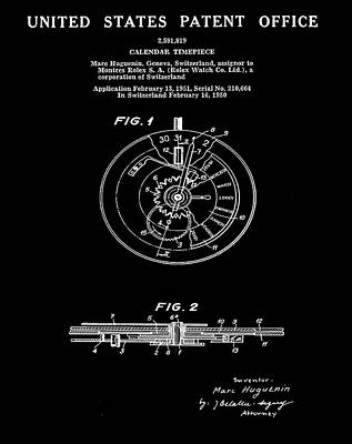 Sepia Chalk Drawing - Rolex Watch Patent 1999 In Black by Bill Cannon