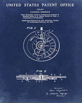 Sepia Chalk Drawing - Rolex Watch Patent 1999 In Blue by Bill Cannon