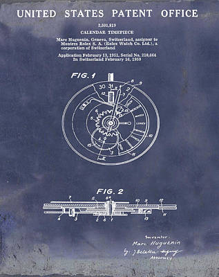 Sepia Chalk Drawing - Rolex Watch Patent 1999 In Blue Grunge by Bill Cannon
