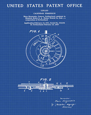 Sepia Chalk Drawing - Rolex Watch Patent 1999 In Blueprint by Bill Cannon