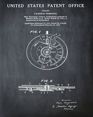Rolex Watch Patent 1999 In Chalk Art Print by Bill Cannon
