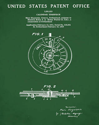 Old Style Drawing - Rolex Watch Patent 1999 In Green by Bill Cannon