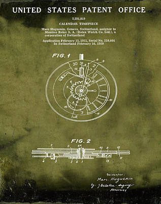 Sepia Chalk Drawing - Rolex Watch Patent 1999 In Grunge by Bill Cannon