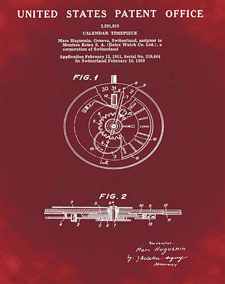 Old Style Drawing - Rolex Watch Patent 1999 In Red by Bill Cannon