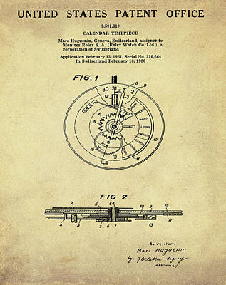 Sepia Chalk Drawing - Rolex Watch Patent 1999 In Sepia by Bill Cannon