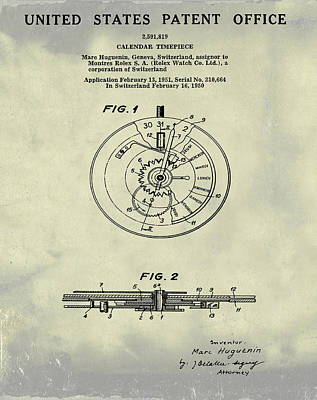 Sepia Chalk Drawing - Rolex Watch Patent 1999 In Weathered by Bill Cannon