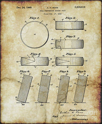 Photograph - Roll Prevention Hockey Puck Patent Drawing From 1940 by Doc Braham