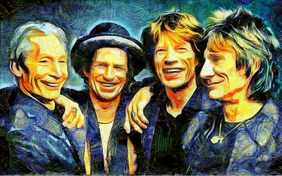 Mick Jagger And Keith Richards Digital Art - Rolling Stones by Galeria Zullian  Trompiz