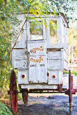 Roman Candy Cart Photograph - Roman Candy Cart - Digital Painting by Scott Pellegrin