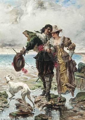 Shores Painting - Romance On The Sea Shore by Edmond Louis