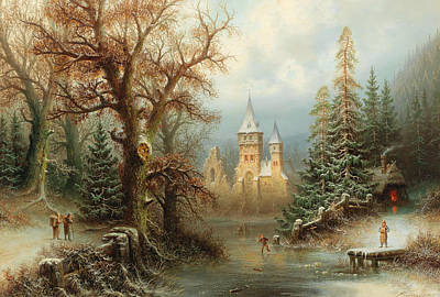 Painting - Romantic Winter Landscape With Ice Skaters By A Castle by Albert Bredow