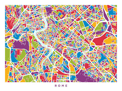 Rome Wall Art - Digital Art - Rome Italy Street Map by Michael Tompsett