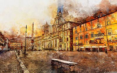 Painting - Rome, Piazza Navona - 03 by Andrea Mazzocchetti