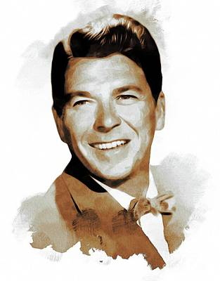 Politicians Paintings - Ronald Reagan, Actor, President by Mary Bassett