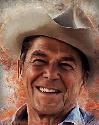 Digital Art - Ronald Reagan by Kai Saarto