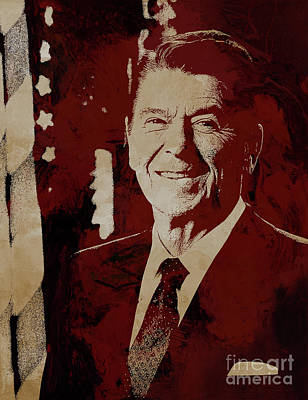 Painting - Ronald Wilson Reagan by Gull G