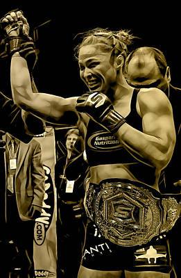 Mixed Media - Ronda Rousey Fighter by Marvin Blaine