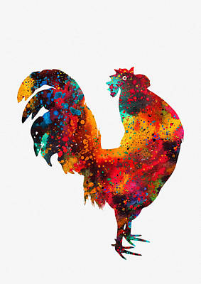 Poultry Digital Art - Rooster-colorful by Erzebet S