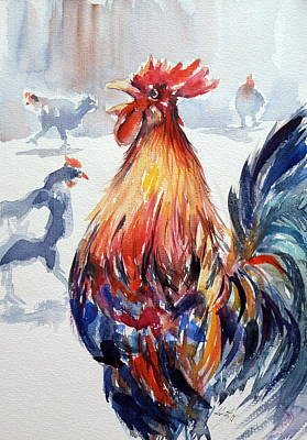 Rooster Painting - Rooster by Kovacs Anna Brigitta