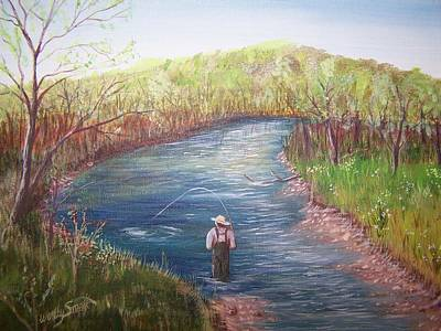 Tree Roots Painting - Root River Fisherman by Wendy Smith
