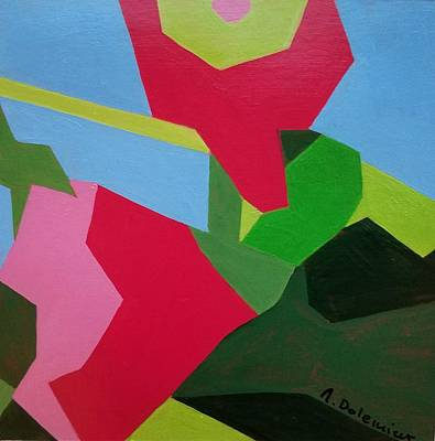 Painting - Rose Tremiere by Muriel Dolemieux