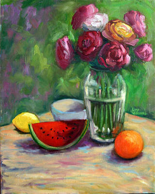 Painting - Roses And Fruit by Lucy Williams